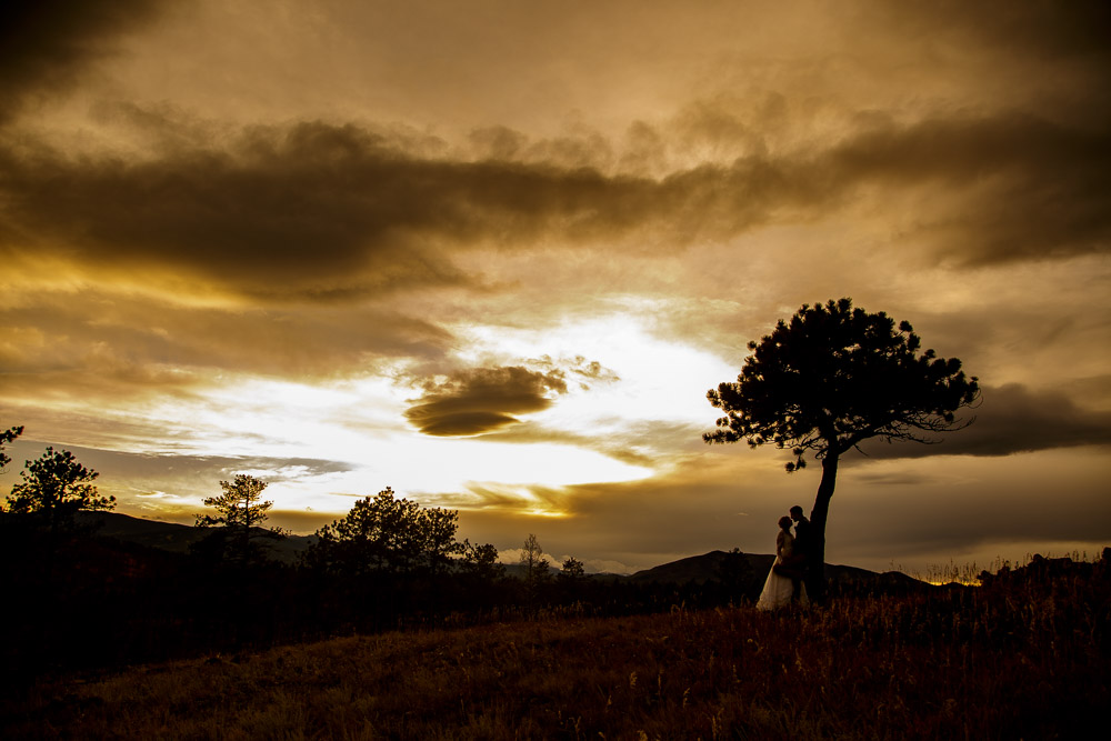 A silhouette of a bride and groom against a tree at sunset after their wedding at Buckhorn Camp near Fort Collins, Colorado.